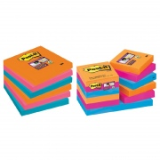 Super sticky lipnūs lapeliai 3M POST-IT® ElectricGlow SuperSticky 51x51 m, asorti, 12 vnt./pak.