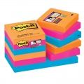 Super sticky lipnūs lapeliai 3M POST-IT® BORA BORA SuperSticky 51x51 mm, asorti, 12 vnt./pak.